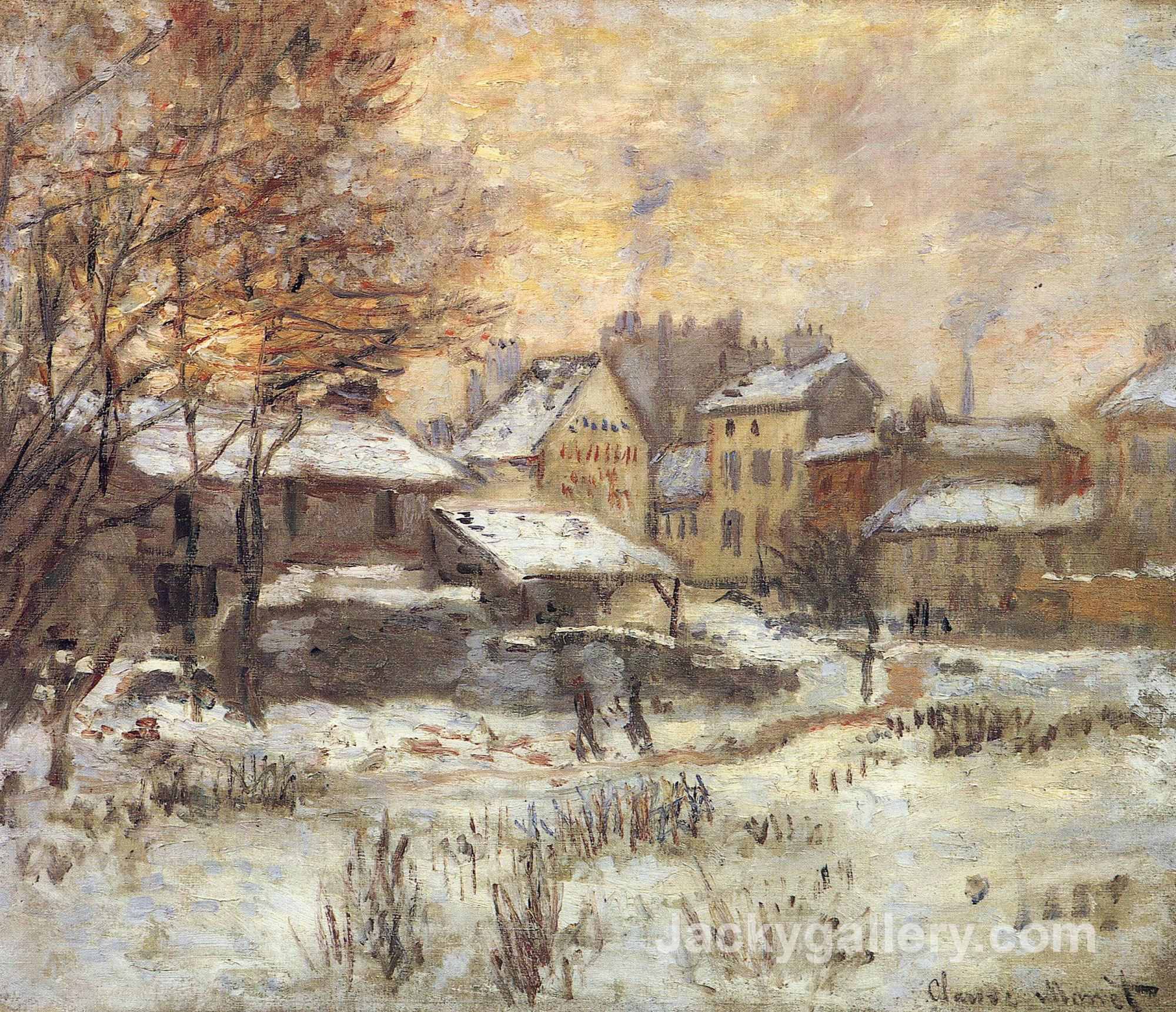 Snow Effect with Setting Sun by Claude Monet paintings reproduction