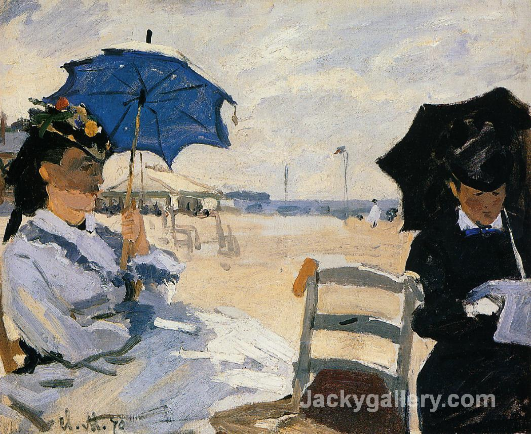 The Beach at Trouville by Claude Monet paintings reproduction