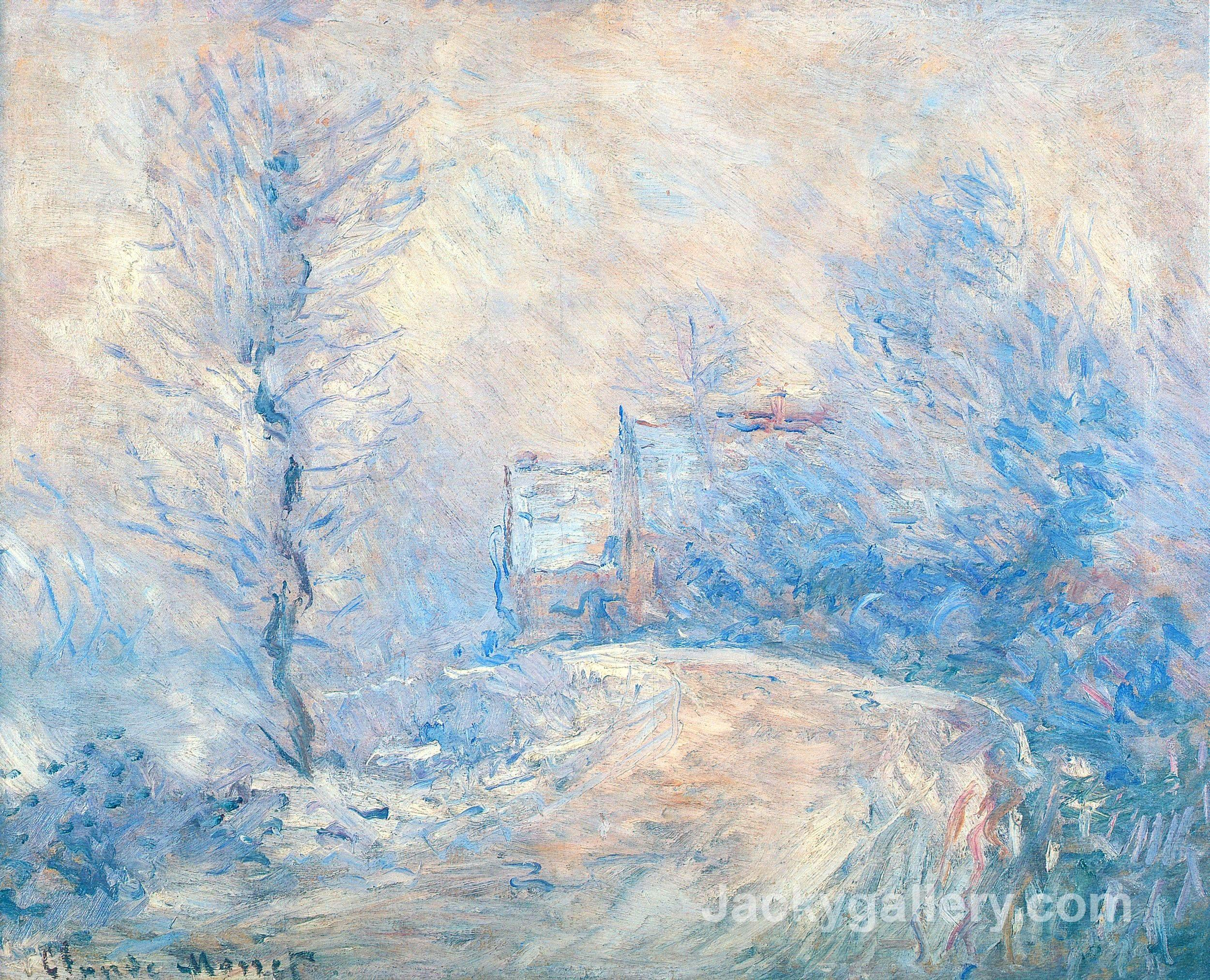 The Entrance to Giverny under the Snow by Claude Monet paintings reproduction