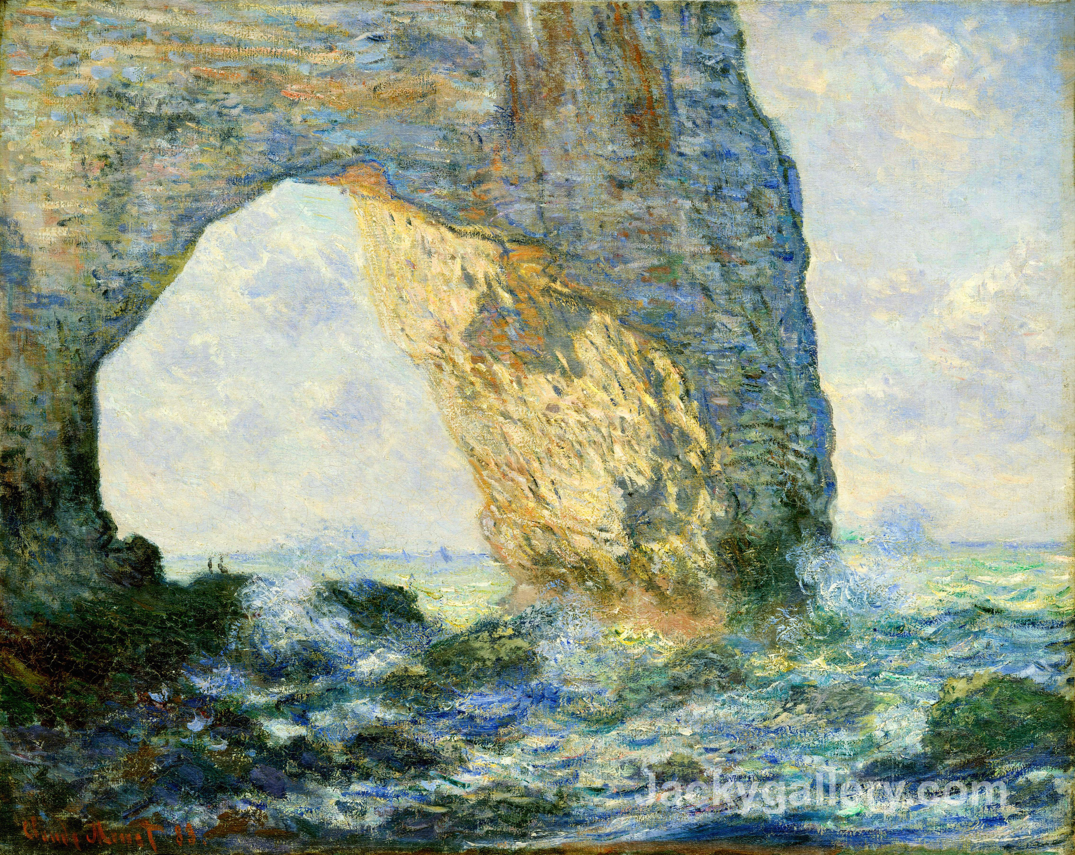 The Manneport, Rock Arch West of Etretat by Claude Monet paintings reproduction