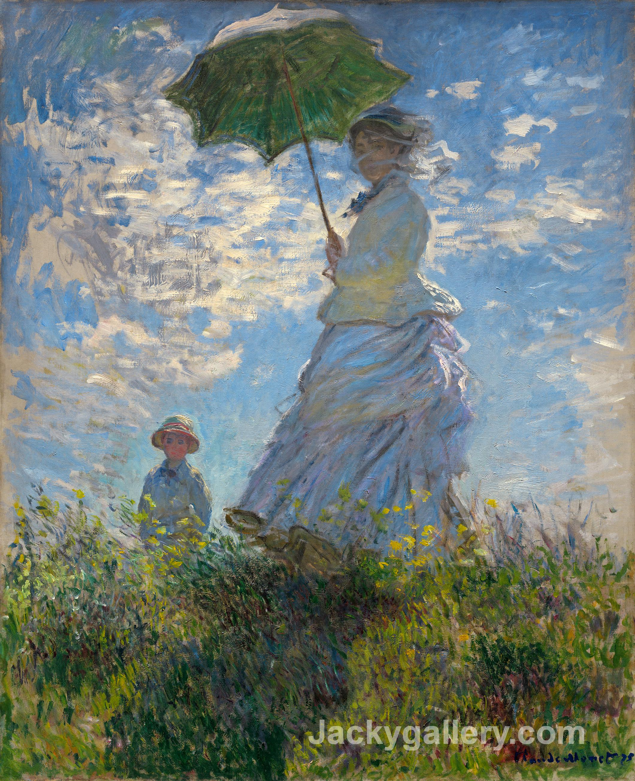 The Promenade, Woman with a Parasol by Claude Monet paintings reproduction