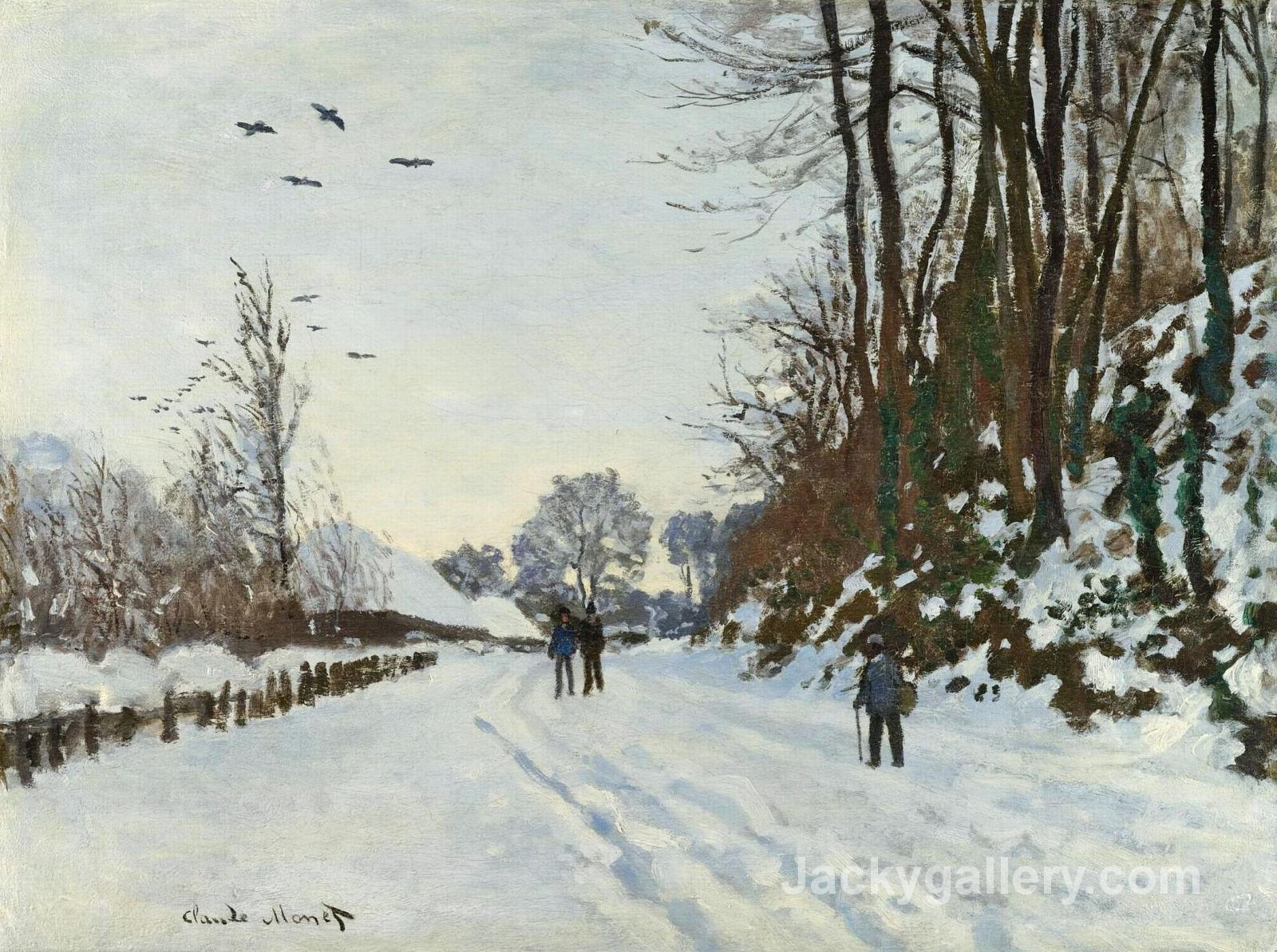 The Road to the Farm of Saint-Simeon in Winter by Claude Monet paintings reproduction