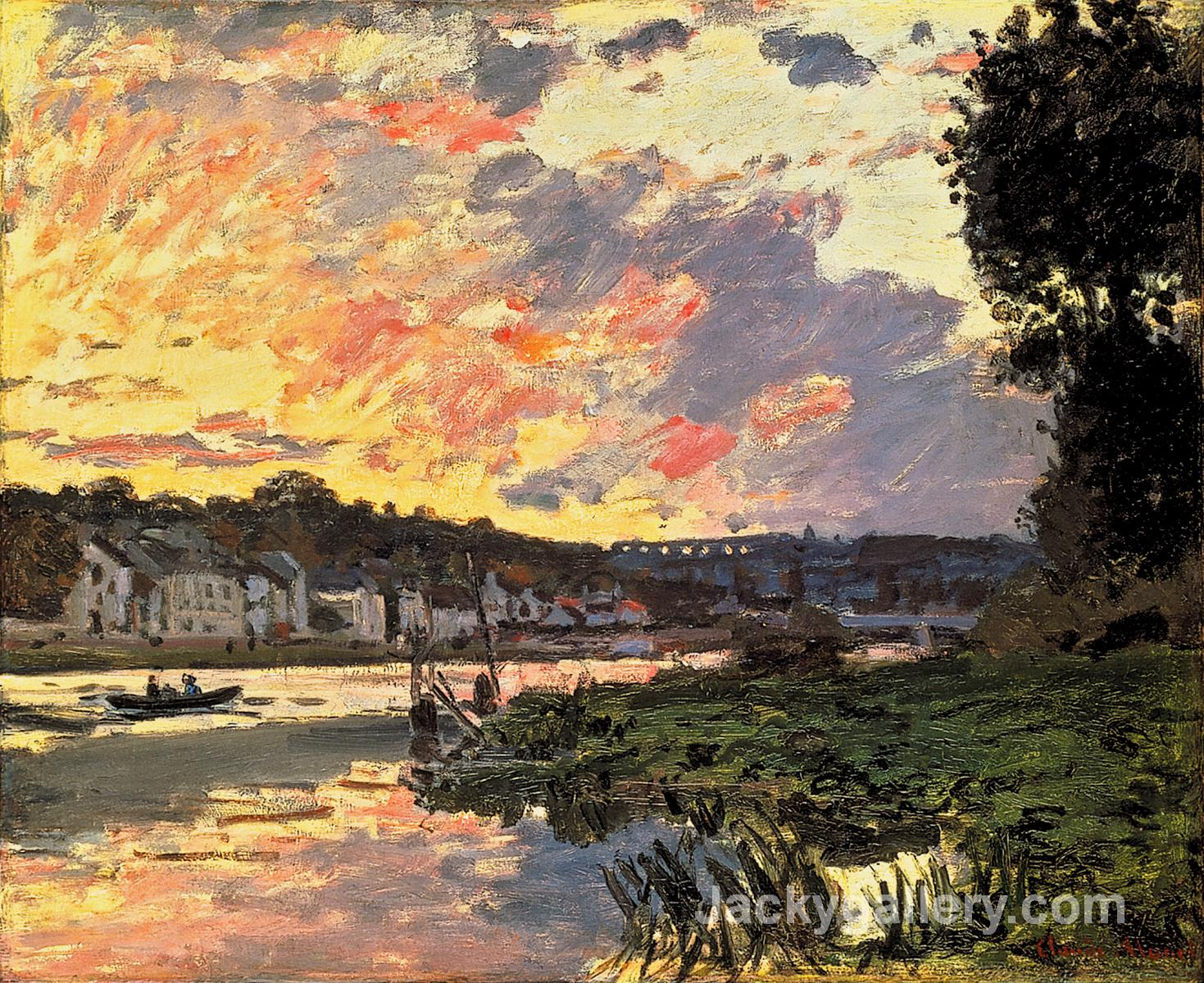 The Seine at Bougival in the Evening by Claude Monet paintings reproduction