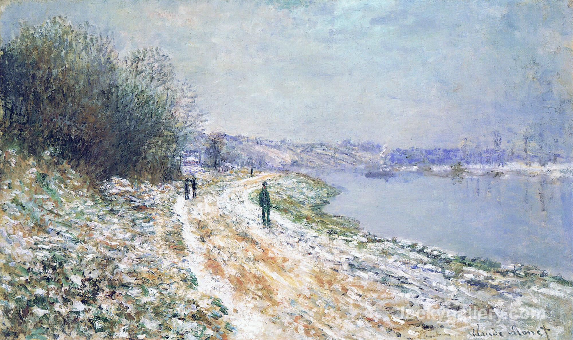 Framed paintings The Tow Path at Argenteuil, Winter by Claude Monet paintings reproduction