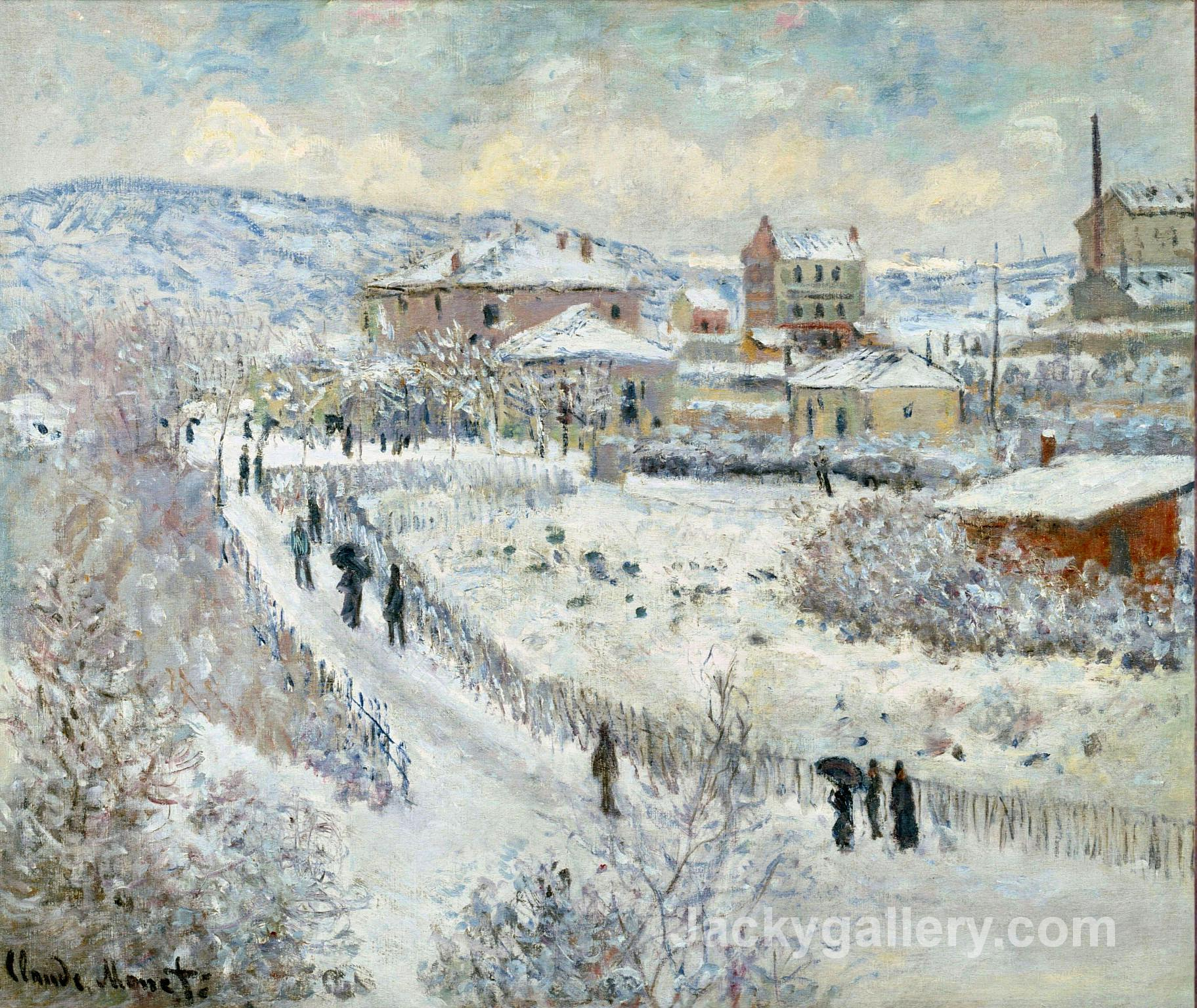 View of Argenteuil in the Snow by Claude Monet paintings reproduction