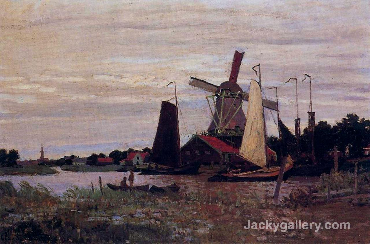 Windmill at Zaandam by Claude Monet paintings reproduction