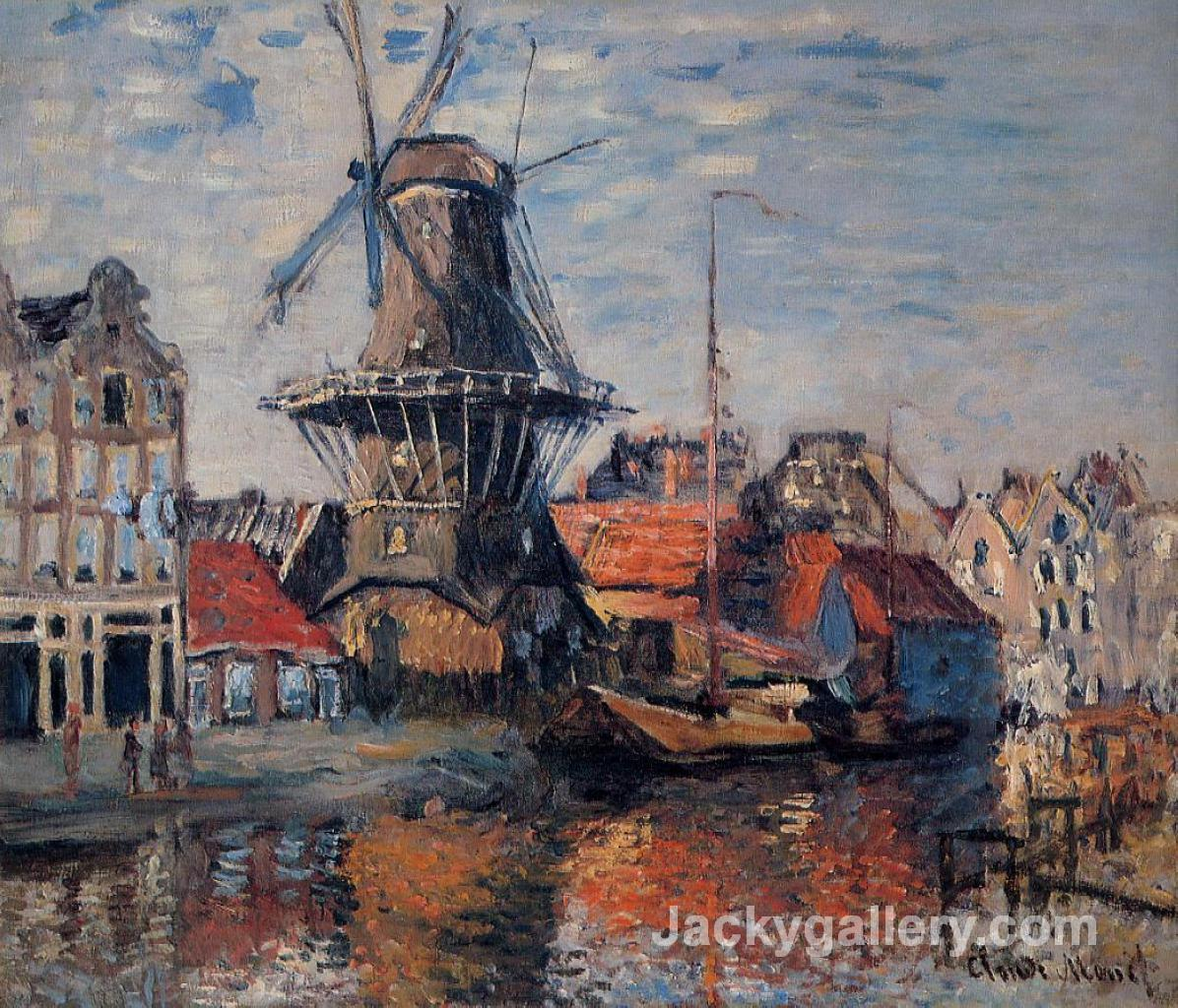 Windmill on the Onbekende Canal, Amsterdam by Claude Monet paintings reproduction