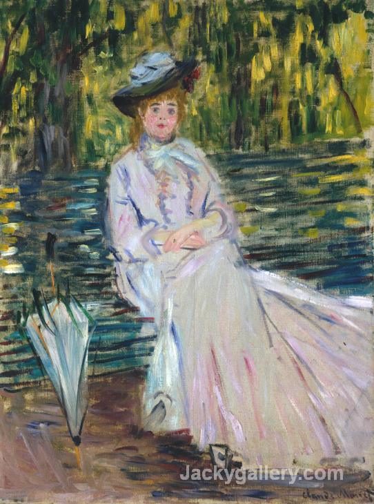 Woman Seated on a Bench c. by Claude Monet paintings reproduction
