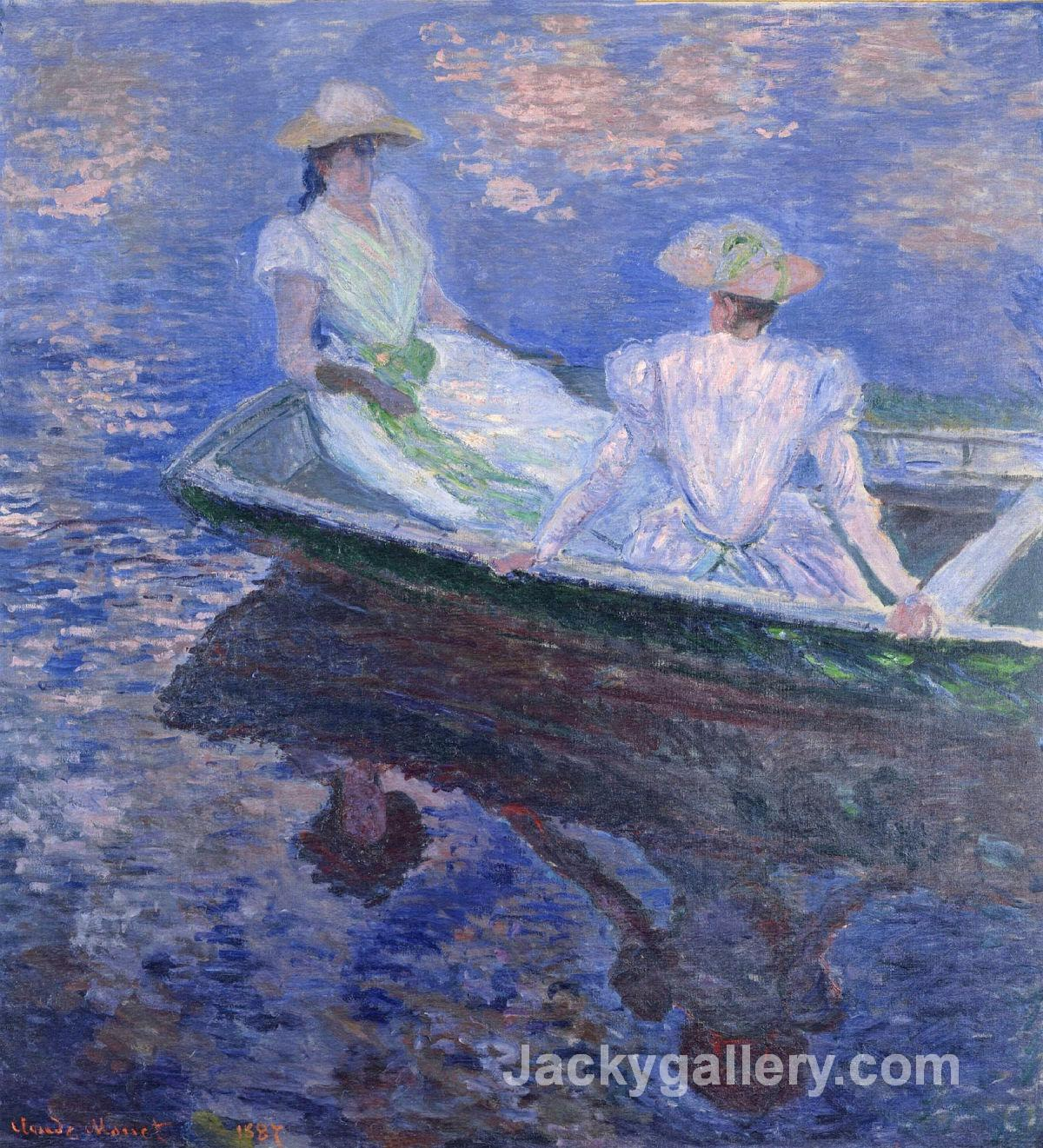 Young Girls in a Row Boat by Claude Monet paintings reproduction