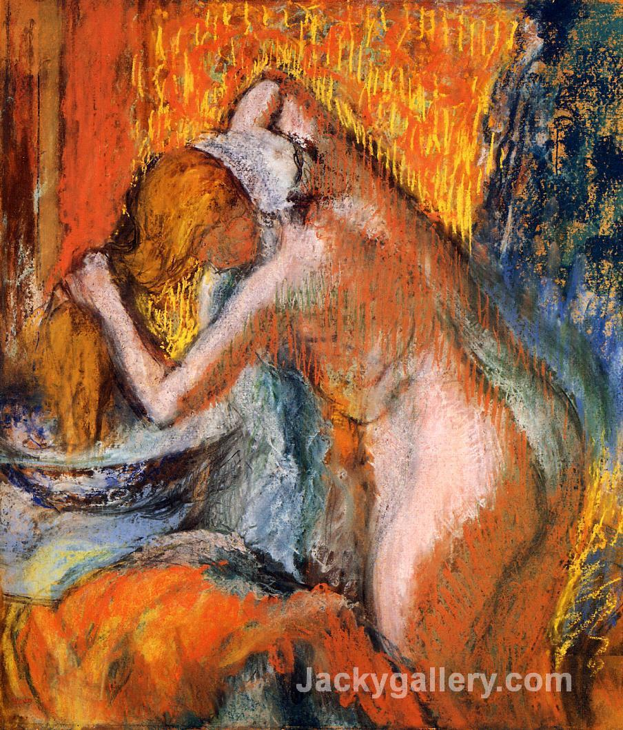 After the Bath, Woman Drying Her Hair by Edgar Degas paintings reproduction