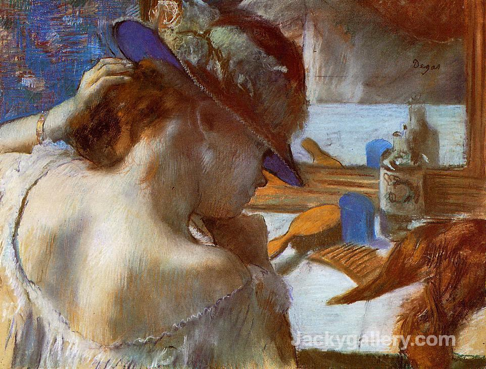 At the Mirror by Edgar Degas paintings reproduction