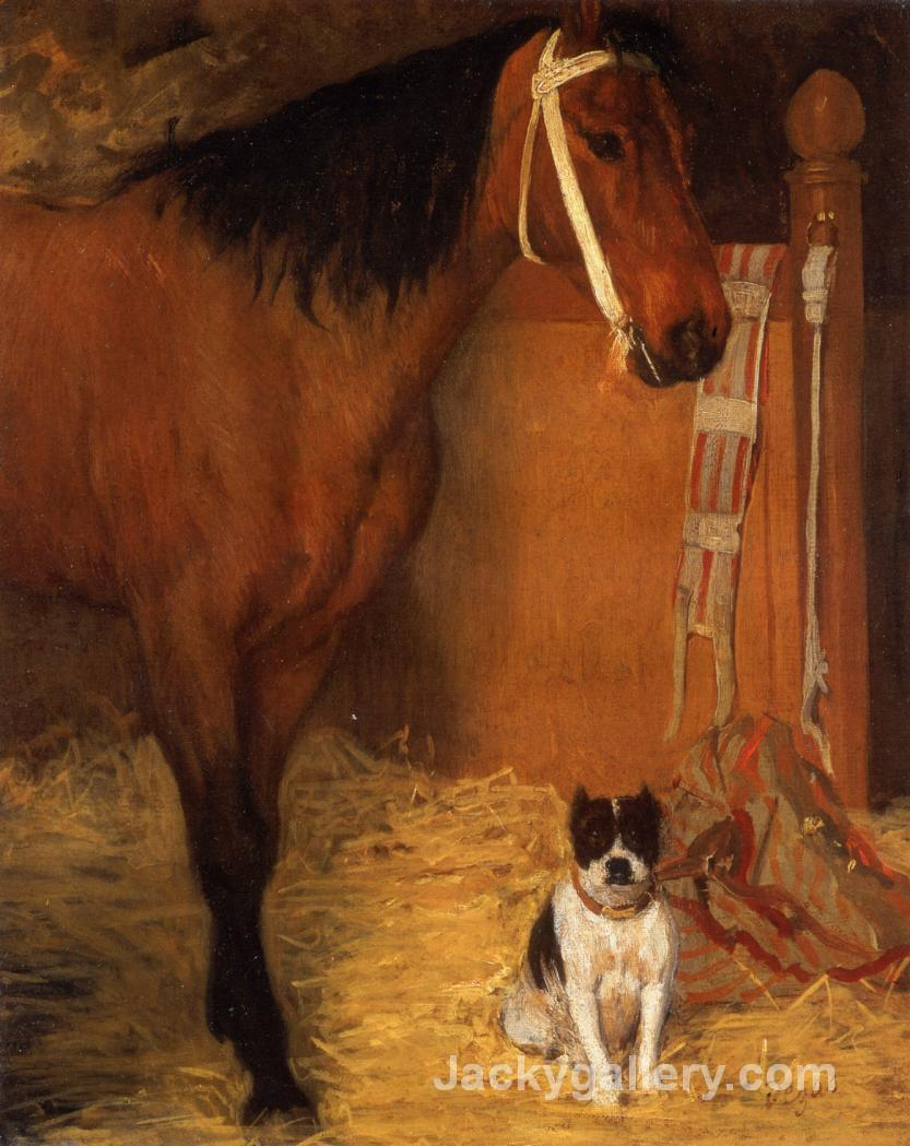 At the Stables, Horse and Dog by Edgar Degas paintings reproduction