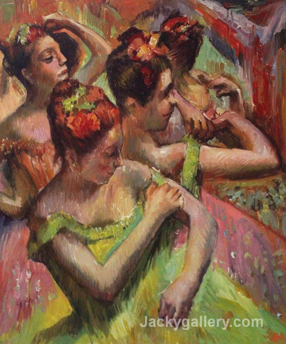 Ballerinas Adjusting Their Dresses by Edgar Degas paintings reproduction