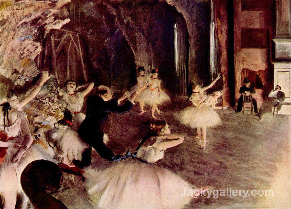 Ballet Rehearsal on Stage by Edgar Degas paintings reproduction