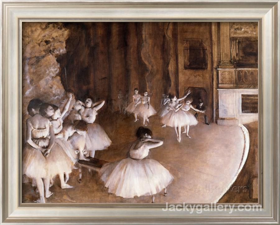 Ballet Rehearsal on the Stage by Edgar Degas paintings reproduction