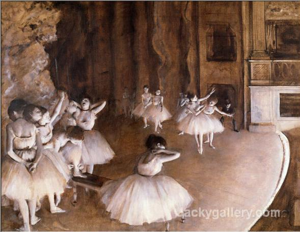 Ballet Rehearsal on the Stage, by Edgar Degas paintings reproduction