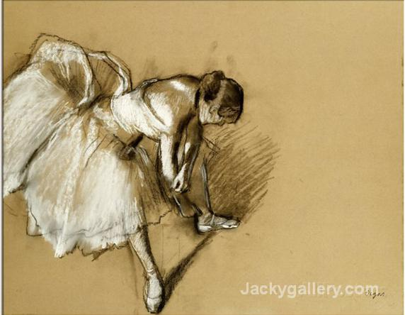 Dancer Adjusting Her Shoe,circa by Edgar Degas paintings reproduction