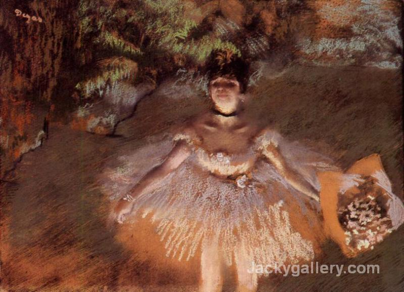 Dancer on Stage with a Bouquet by Edgar Degas paintings reproduction