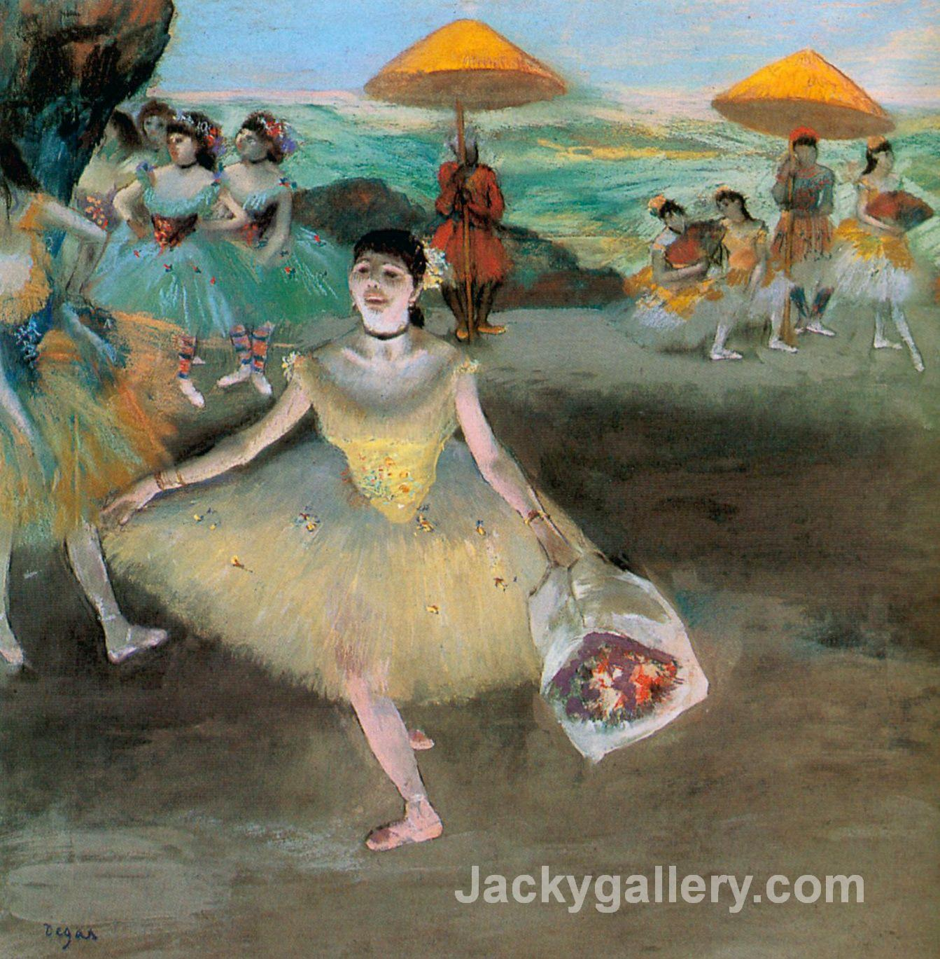 Dancer with a Bouquet Bowing by Edgar Degas paintings reproduction