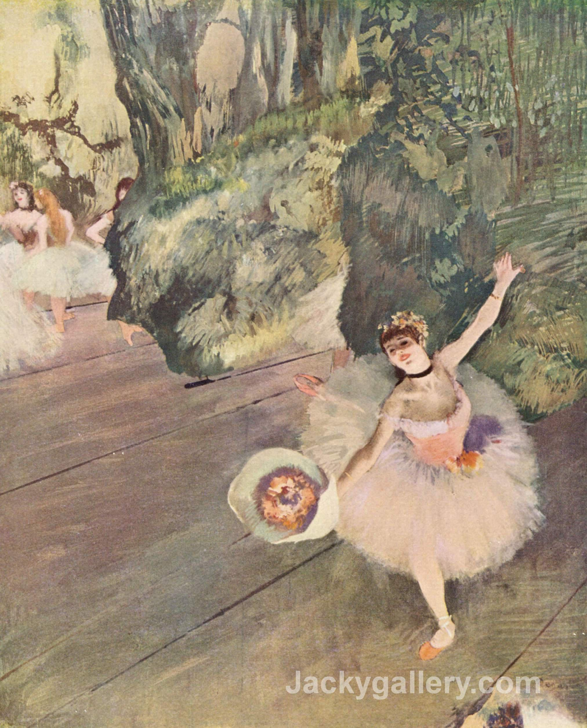 Dancer with a bouquet of flowers (The Star of the ballet) by Edgar Degas paintings reproduction
