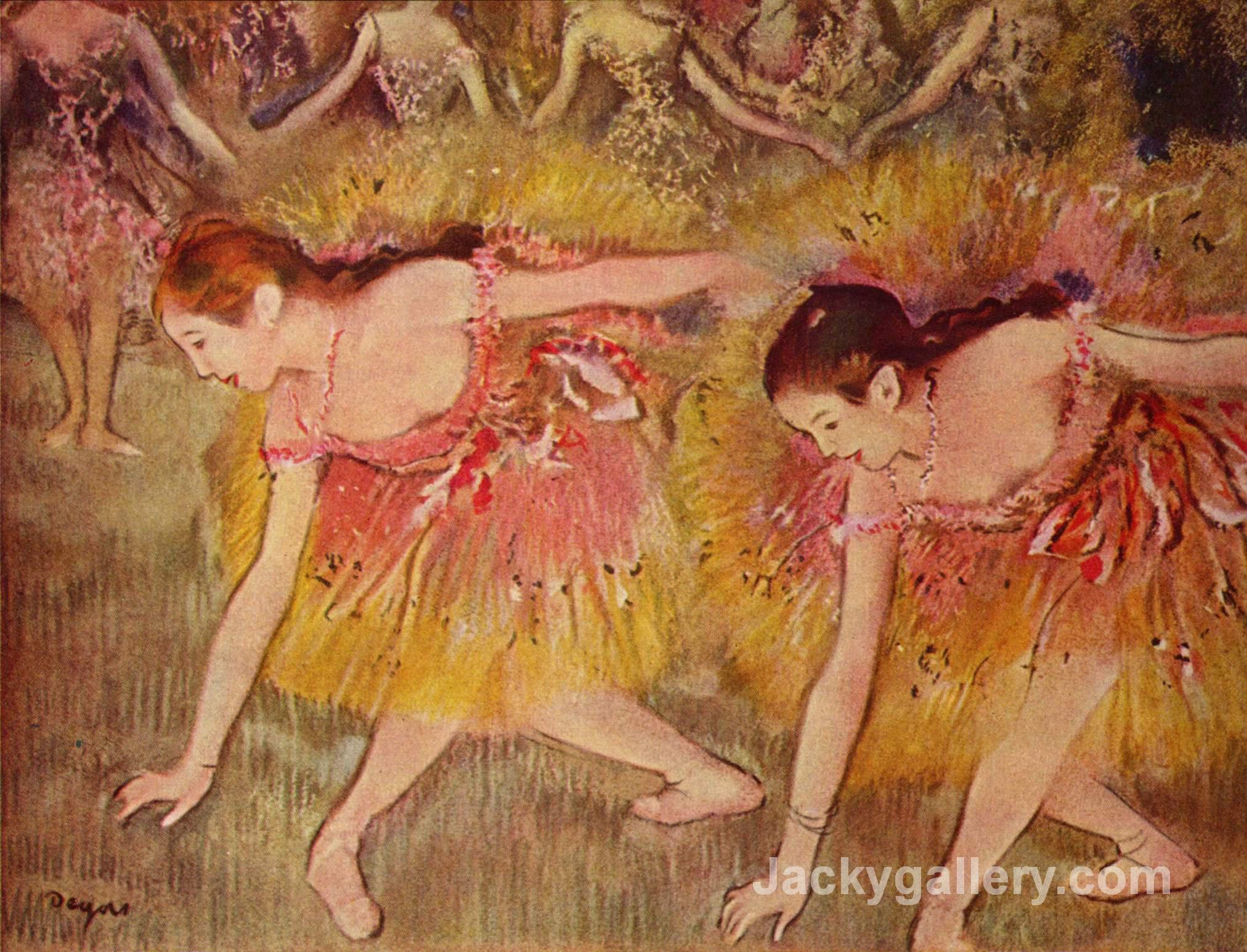 Dancers Bending Down by Edgar Degas paintings reproduction