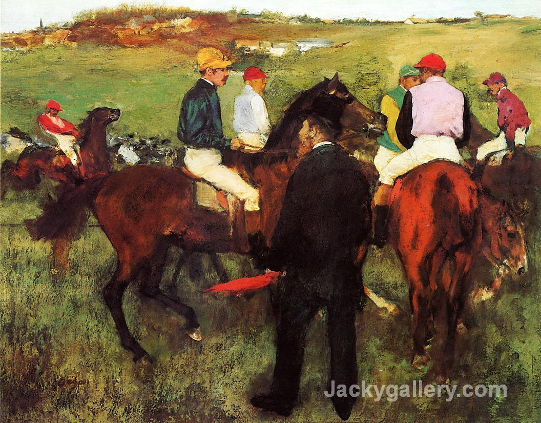 Racehorses at countryside by Edgar Degas paintings reproduction