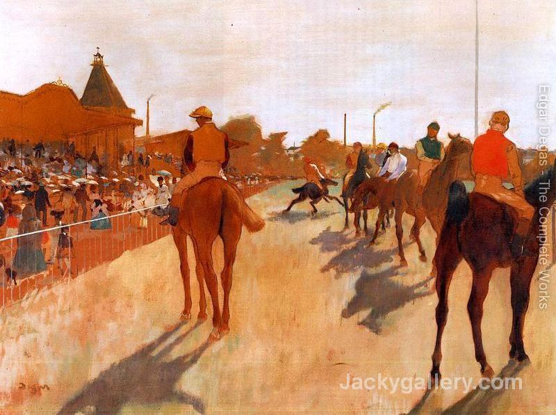 Racehorses in Front of the Grandstand -68 by Edgar Degas paintings reproduction