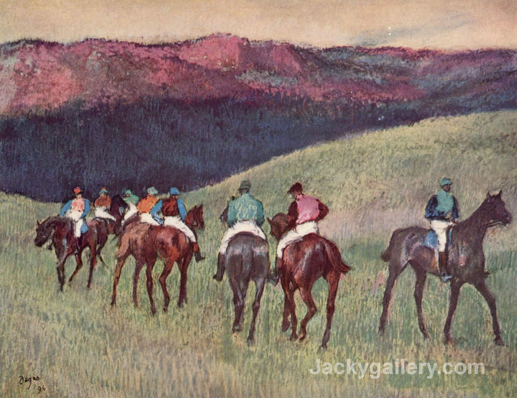 Racehorses in a Landscape by Edgar Degas paintings reproduction