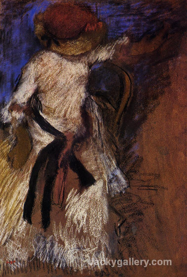 Seated Woman in a White Dress by Edgar Degas paintings reproduction