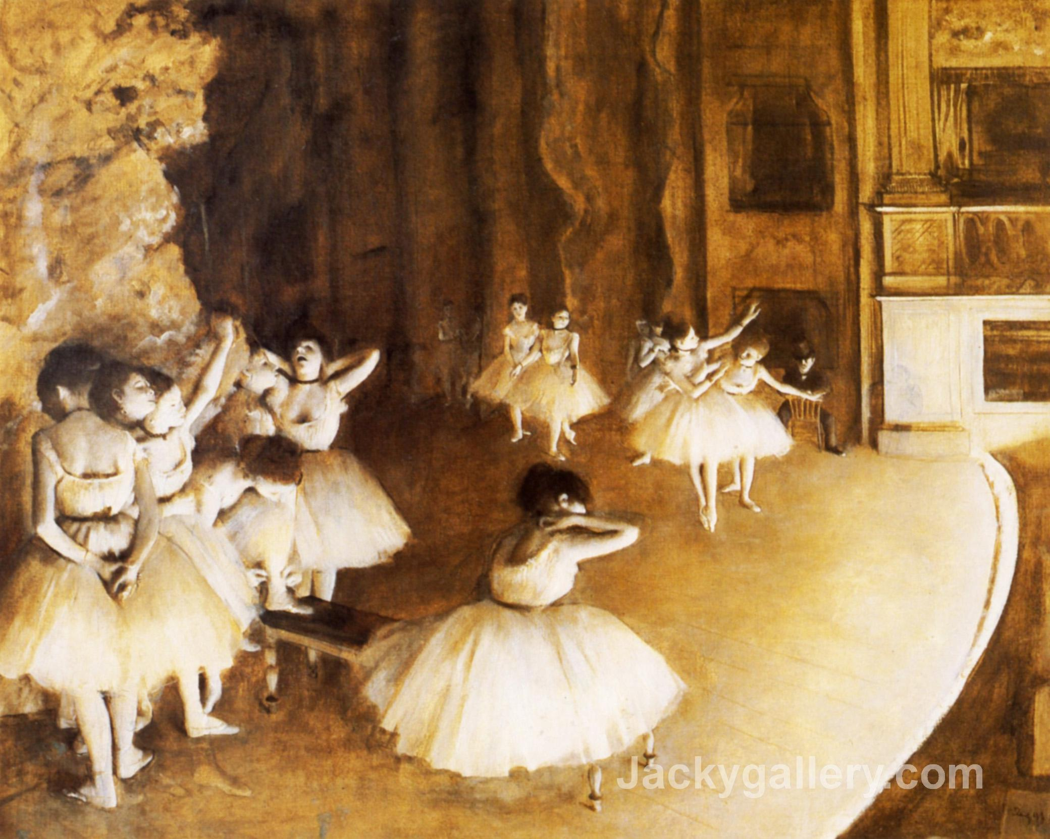 The Ballet Rehearsal on Stage by Edgar Degas paintings reproduction