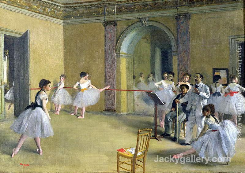 The Dance Foyer at the Opera on the rue Le Peletier by Edgar Degas paintings reproduction