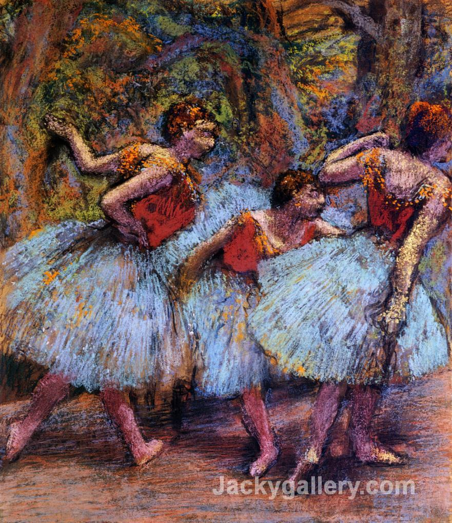 Three Dancers, Blue Skirts, Red Blouses by Edgar Degas paintings reproduction