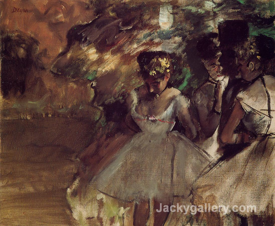 Three Dancers behind the Scenes by Edgar Degas paintings reproduction