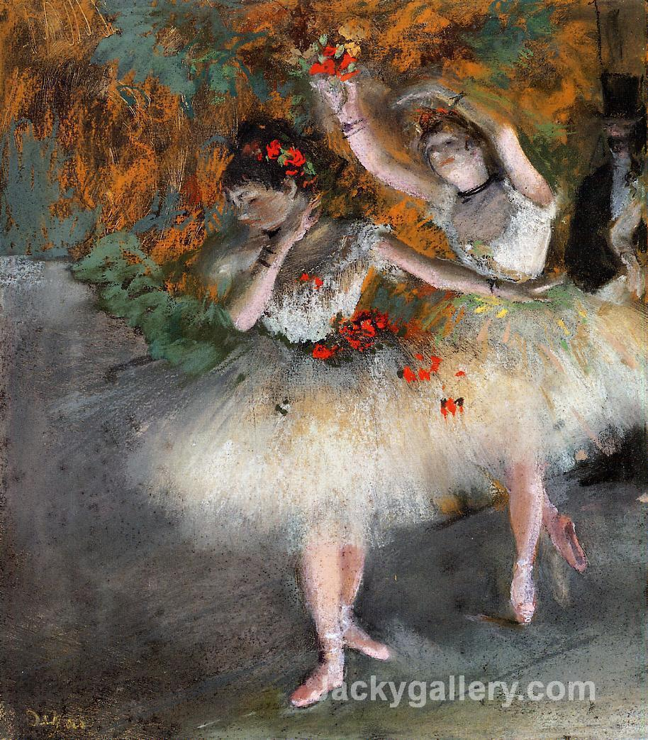 Two Dancers Entering the Stage by Edgar Degas paintings reproduction