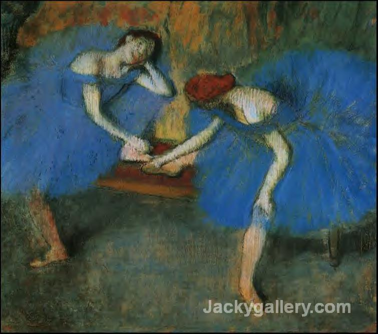 Two Dancers in Blue by Edgar Degas paintings reproduction