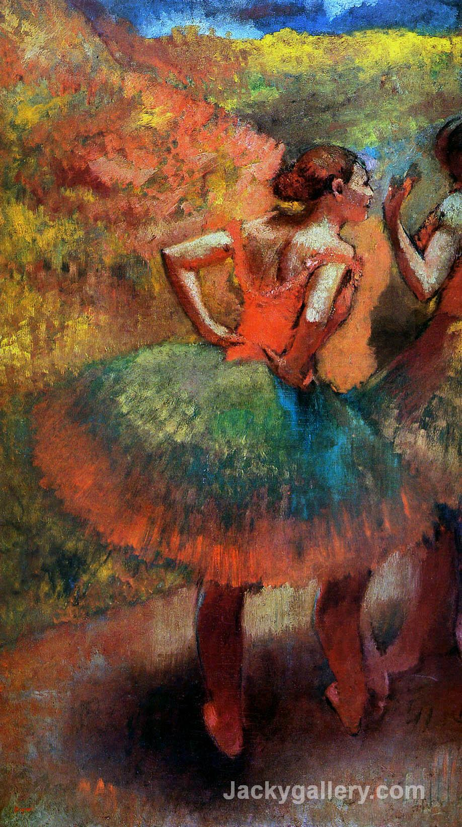 Two Dancers in Green Skirts, Landscape Scener by Edgar Degas paintings reproduction