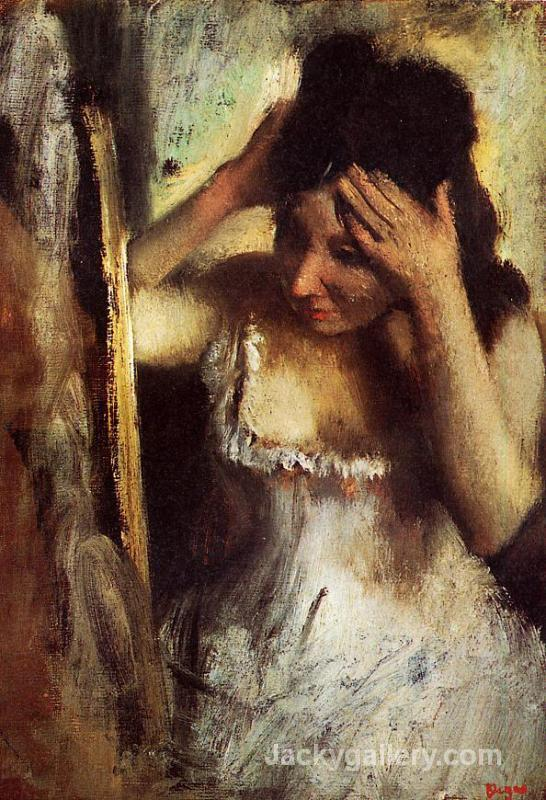 Woman Combing Her Hair in front of a Mirror by Edgar Degas paintings reproduction
