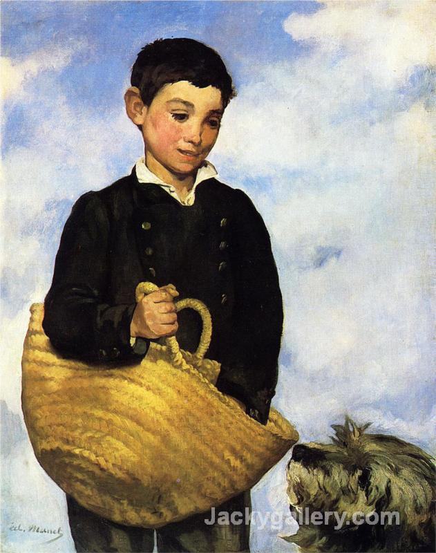 A boy with a dog by Edouard Manet paintings reproduction