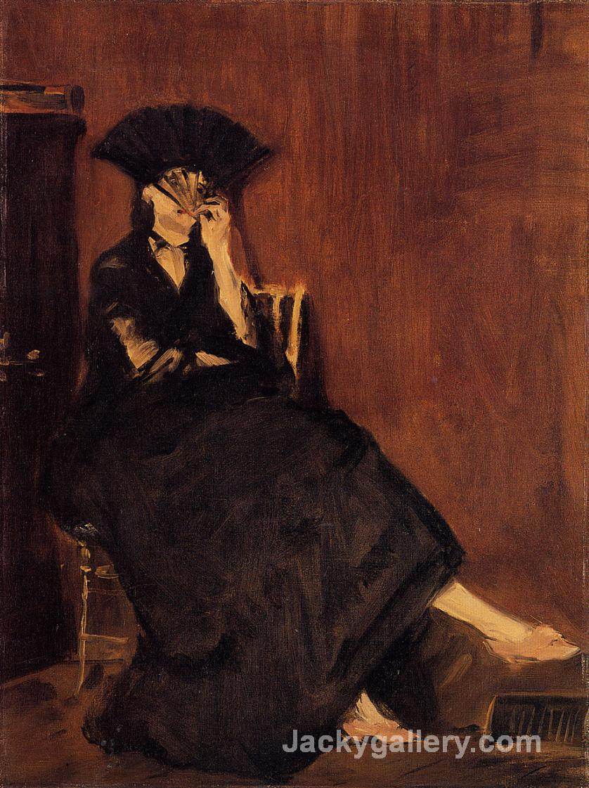 Berthe Morisot with a Fan by Edouard Manet paintings reproduction