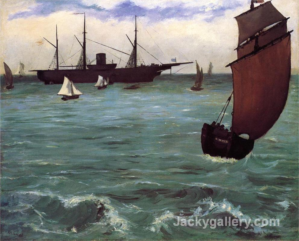 Fishing boat coming in before the wind (The Kearsarge in Boulogne) by Edouard Manet paintings reproduction
