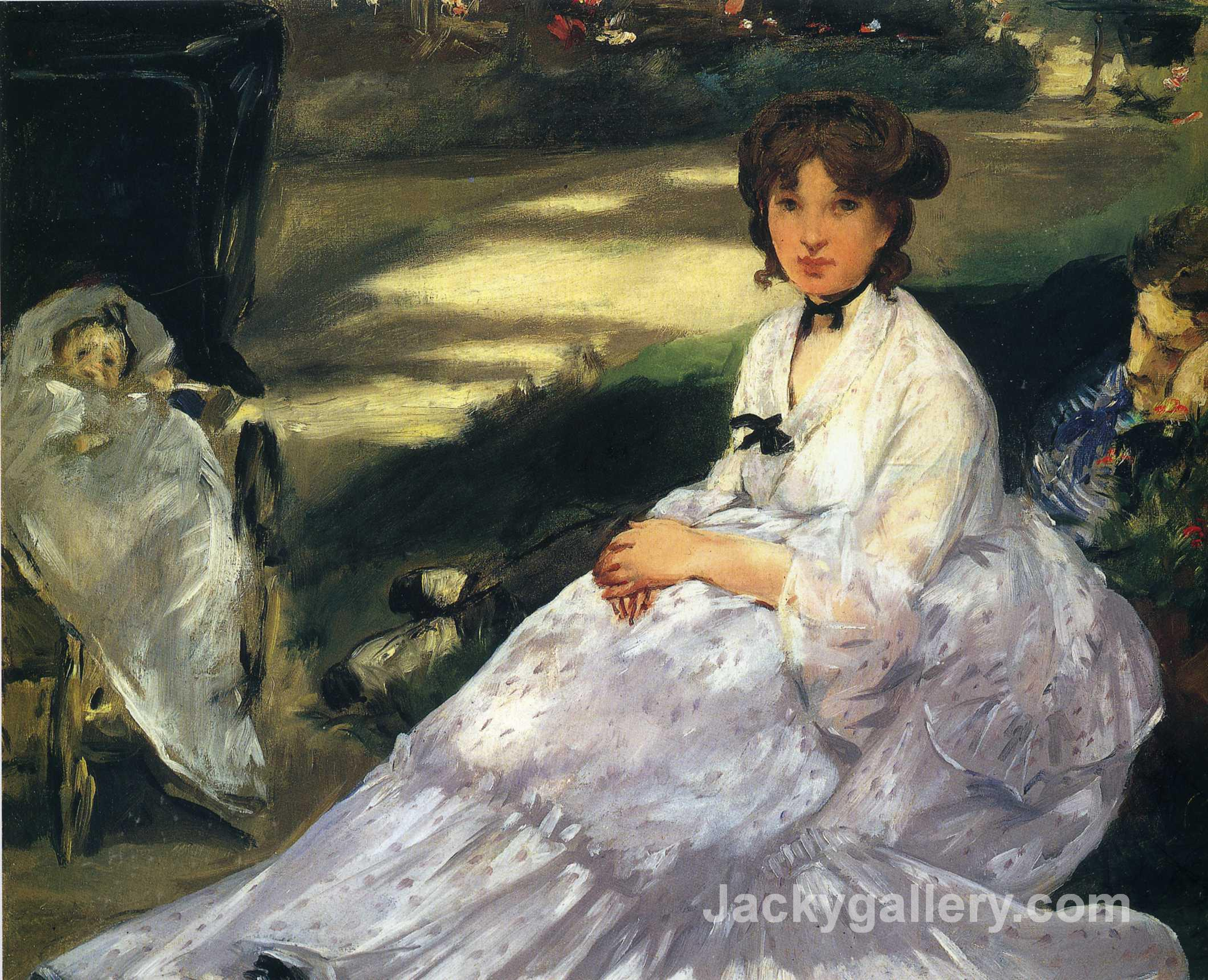 In the garden by Edouard Manet paintings reproduction
