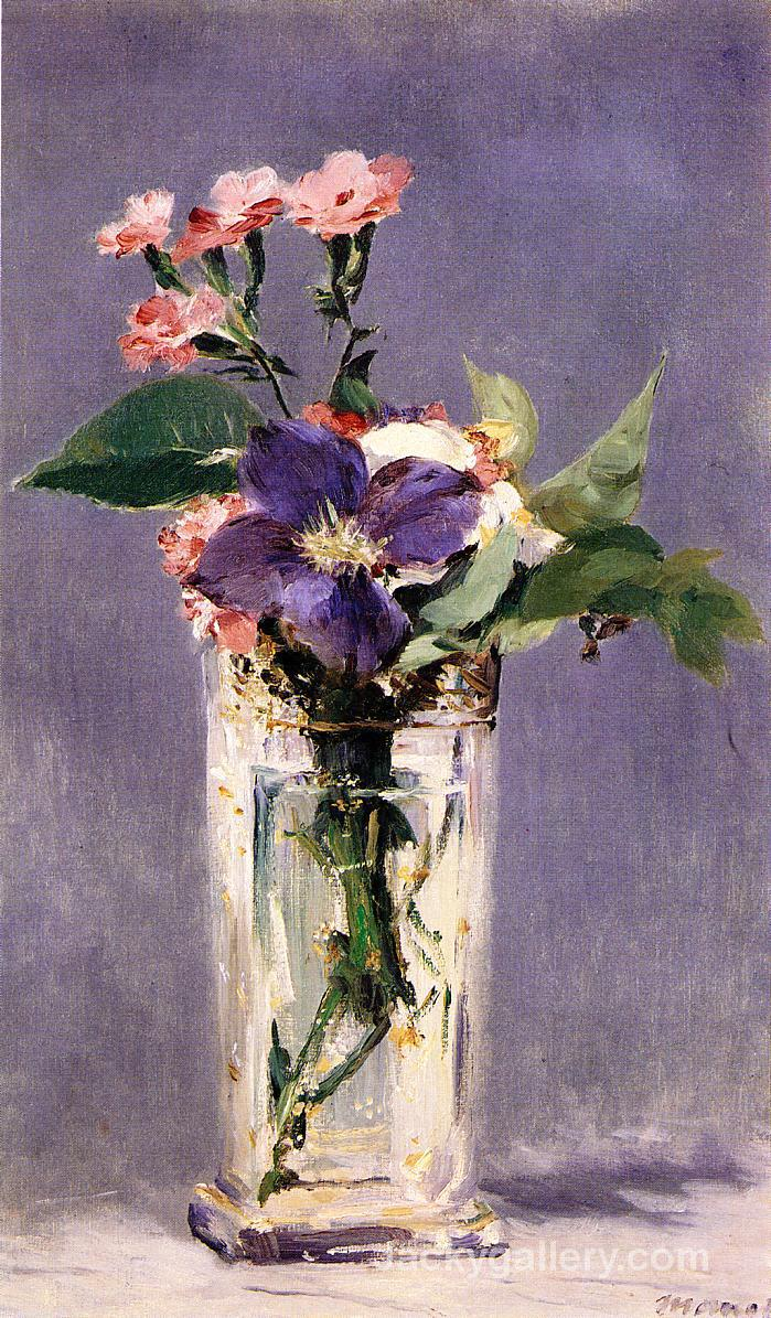 Pinks and Clematis in a Crystal Vase by Edouard Manet paintings reproduction