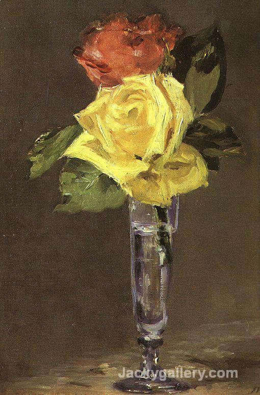 Roses in a Champagne Glass by Edouard Manet paintings reproduction