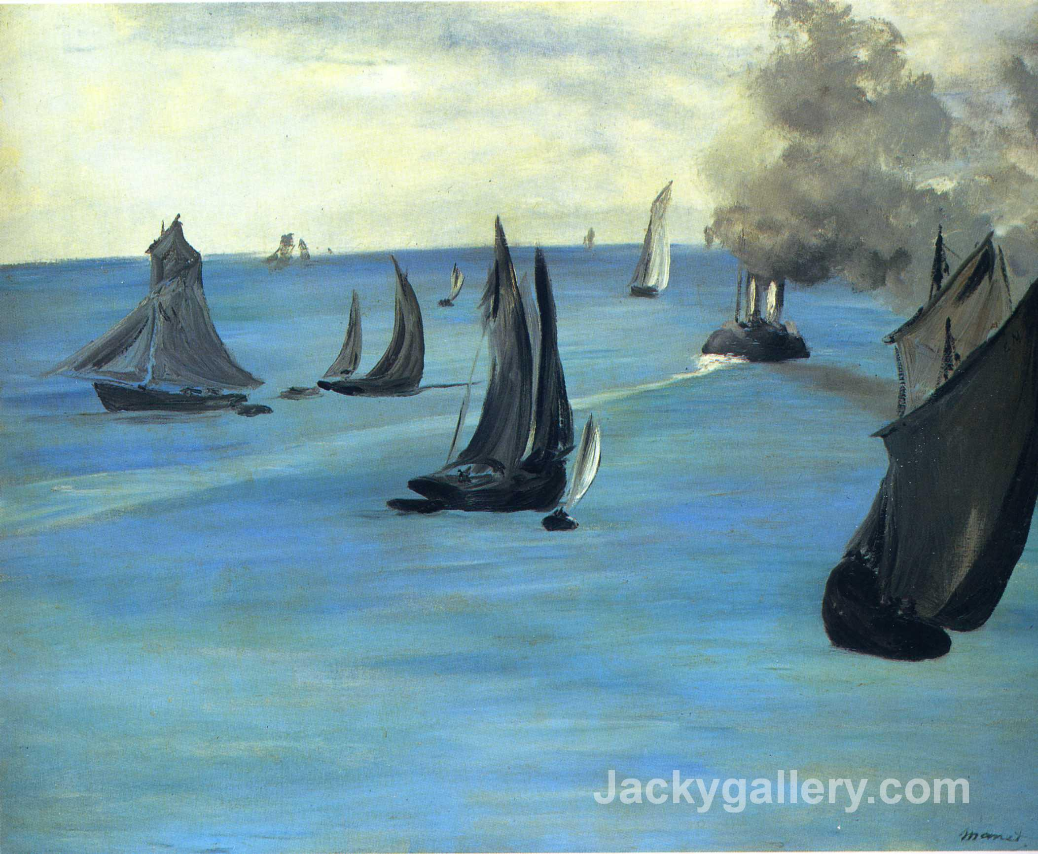 Steamboat leaving Boulogne by Edouard Manet paintings reproduction