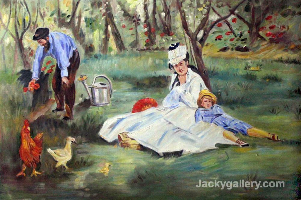 The Monet Family in the Garden by Edouard Manet paintings reproduction