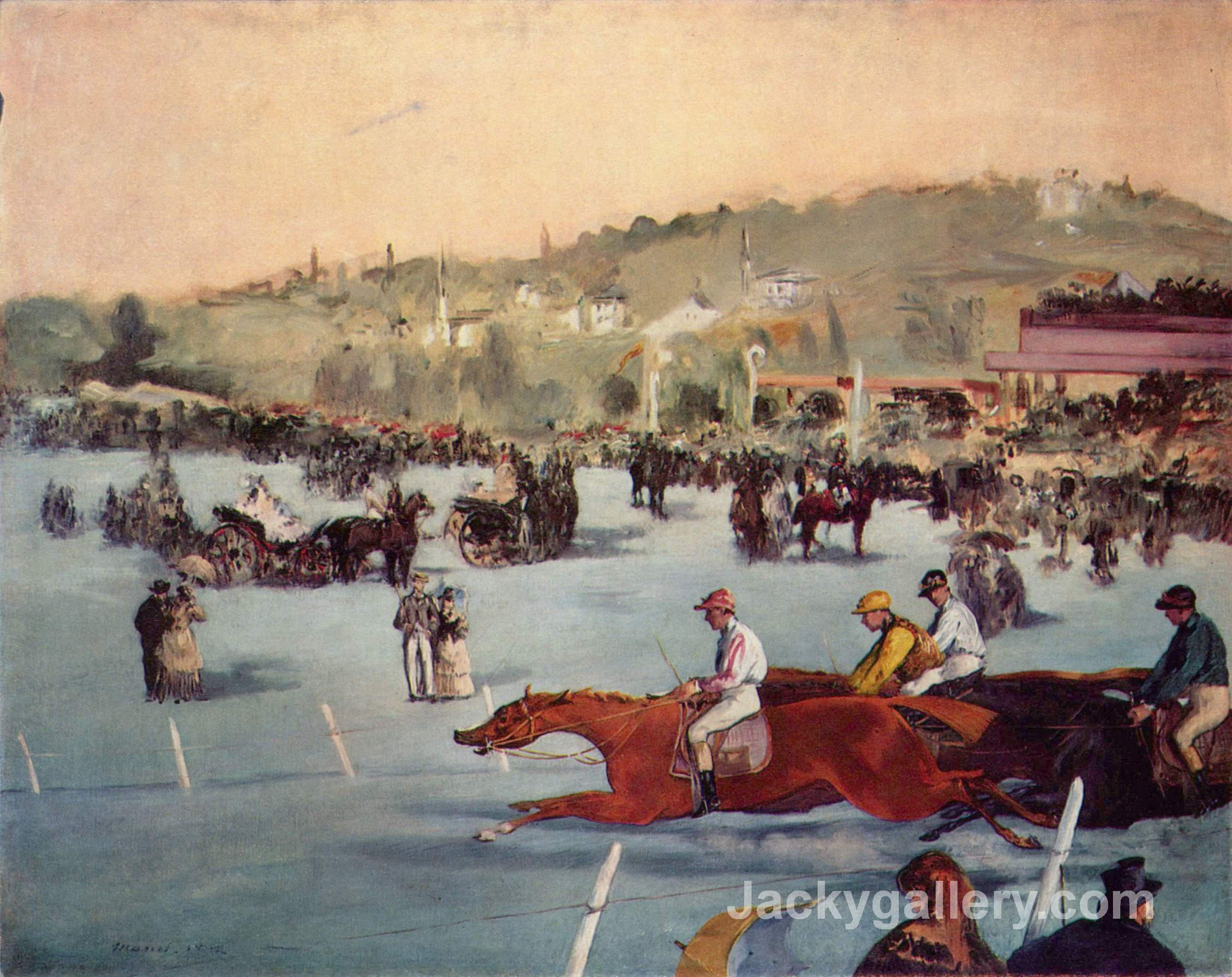 The Races in the Bois de Boulogne by Edouard Manet paintings reproduction