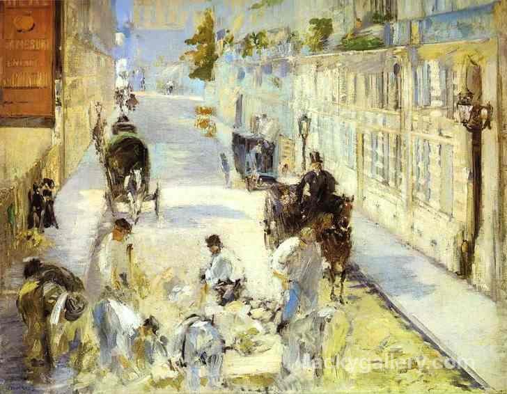 The road-menders, Rue de Berne by Edouard Manet paintings reproduction
