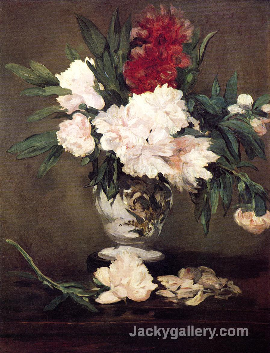 Vase of Peonies on a Small Pedestal by Edouard Manet paintings reproduction