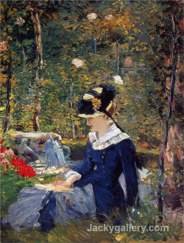 Young woman in the garden by Edouard Manet paintings reproduction