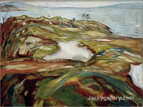Big coastal landscape by Edvard Munch paintings reproduction
